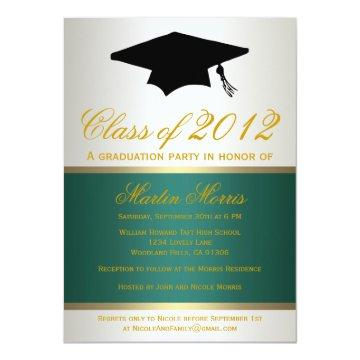 Green and Gold Graduation Invitation