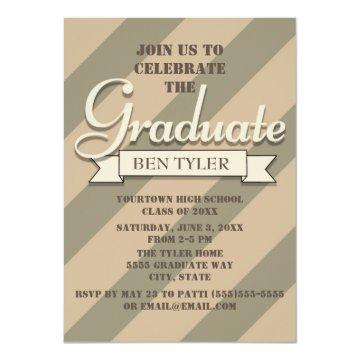 Green and Tan Camo Graduation Party Invitation