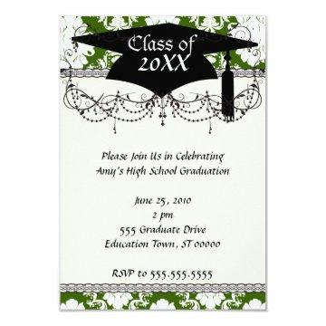 green and white diamond damask  graduation card