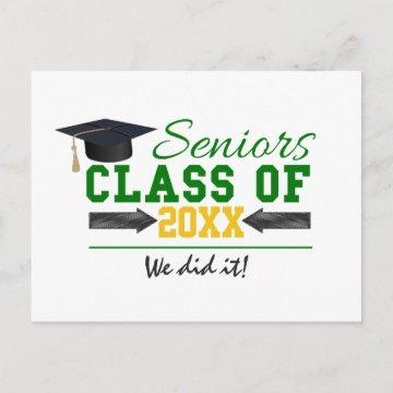 Green and Yellow Graduation Gear Announcement Postcard