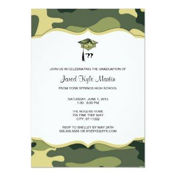 Green Camo Graduation Ceremony or Party Invites