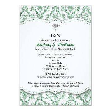 Green Damask Nurse graduation pinning invites