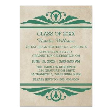 Green Elegant Deco Graduation Invite