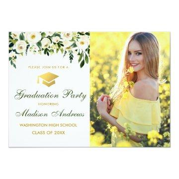 Green Floral Gold Photo Graduation Party Invite
