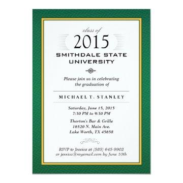 Green & Gold Formal Graduation Party Invite