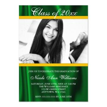 Green Gold Satin Photo Graduation Announcement