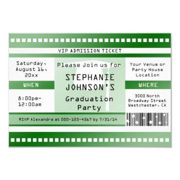 Green Graduation or Party Admission Ticket Card
