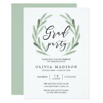 Green Olive Branch Wreath Graduation Party Invitation