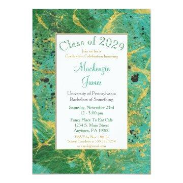 Green Teal Gold Abstract Graduation