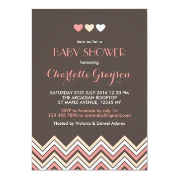 Grey and Pink Chevron Baby Shower