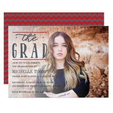 Grey and Red color Chevron Graduate Party invite