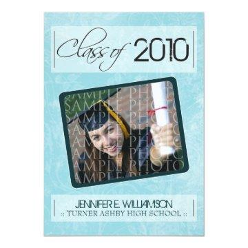 Grunge Texture Graduation Announcement (aqua)