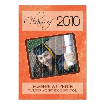 Grunge Texture Graduation Announcement (coral)