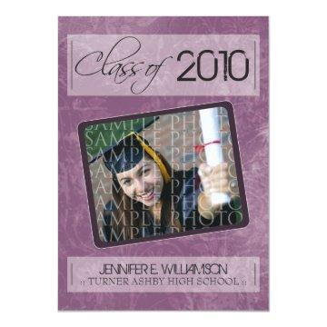 Grunge Texture Graduation Announcement (purple)