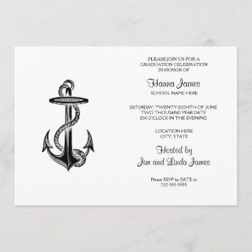 Hand Drawn Nautical Anchor Graduation Invitation