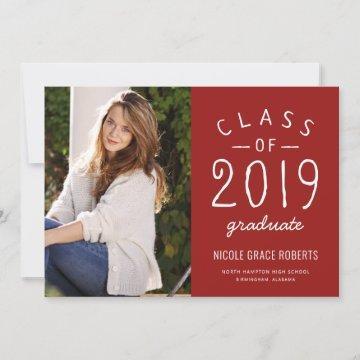 Hand Lettered Graduation Photo Announcement Red