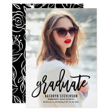Hand Lettering Vertical Photo Graduation Party Card