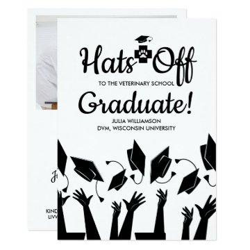 Hats off Veterinary School Grad Graduation Party Card