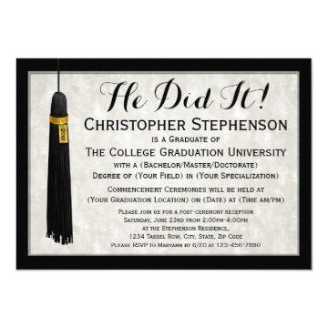 He Did It Tassel College Graduation Card