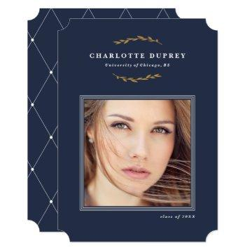 Heritage branch faux foil graduation announcement