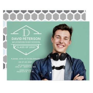 Hexagon Happiness Monogram Graduation Announcement