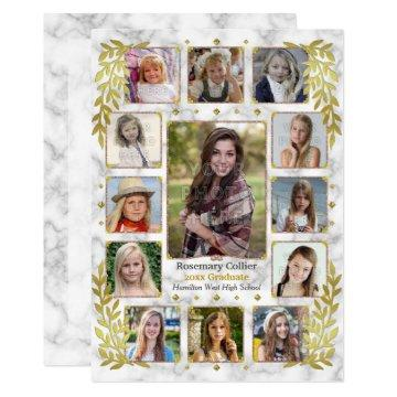 High School Graduation Party Marble Photo Collage Invitation