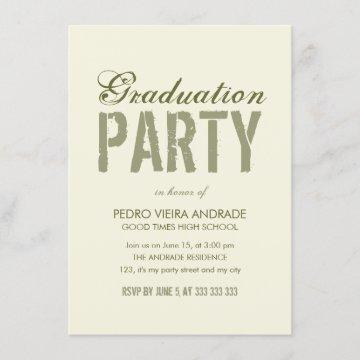High School Graduation Party Photo Green Beige Invitation