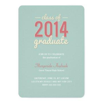 High School Graduation Party Photo Mint Pink 2014 Invitation