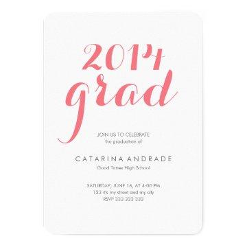 High School Photo Graduation Party 2014 Grad Pink Card