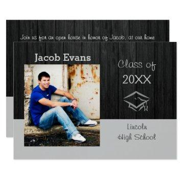 Horizontal Black Wood Photo- 3x5 Grad Announcement