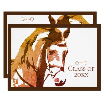 Horse Sketch and Snaffle Bit, Brown Graduation Invitation