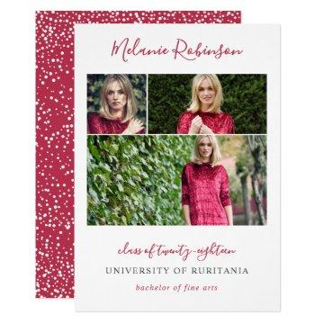 Hot Pink Confetti 3 Photos Graduation Announcement