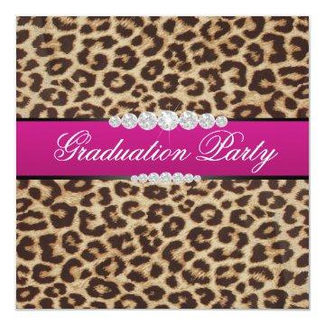 Hot pink Leopard Graduation Party Card