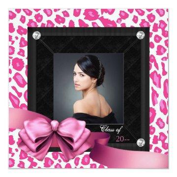 Hot Pink Leopard Photo Graduation Announcements