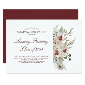 Ivory and Burgundy | Floral Graduation Party Card