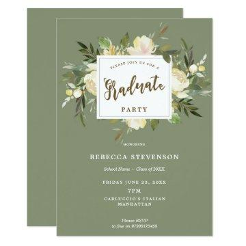 ivory floral boho graduation party invitation