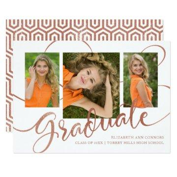 Jubilant Grad Faux Rose Gold Multi Photo Card