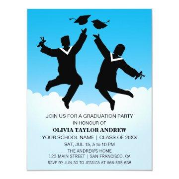 Jumping Graduates Graduation Party Invitation
