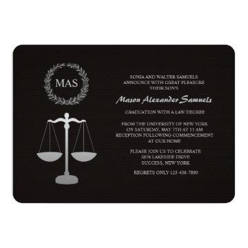Justice Scale & Wreath Law School Graduation Inv Card