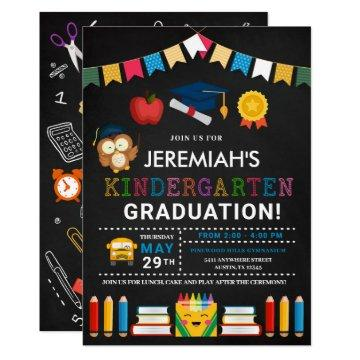 Kindergarten Graduation Chalkboard Invitation
