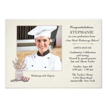 Kitchen Tools Photo Culinary School Graduation Invitation