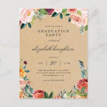 Kraft Burgundy Blush Pink Floral Graduation Party Invitation Postcard