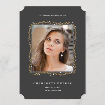 Laurel frame graduation announcement faux foil