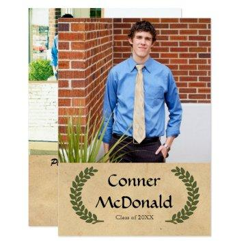 Laurel Leaf - 3x5 Graduation Announcement