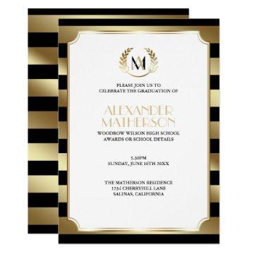 Laurel Monogrammed Black and Gold  Graduation Invitation