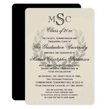 University of graduation invitations graduation invitations laurel wreath monogram classic college graduation filmwisefo