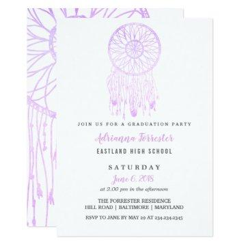 Lavender Bohemian Dream Catcher Graduation Party Card