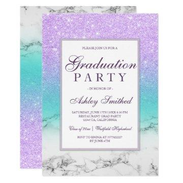 Lavender glitter turquoise marble Graduation party Card