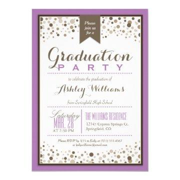 Lavender Purple, White, and Taupe Graduation Party Invitation