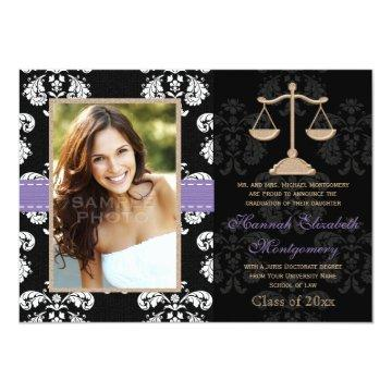 Law School Graduation Announcements Invites Purple